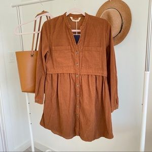 Zara • NWT Mini Corduroy Shirt Dress Sz XS
